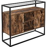 VASAGLE dressoir, zijkast, dressoir, keukenkast met glazen oppervlak en open vakken, woonkamer, hal, stabiel stalen frame, ge