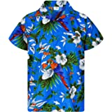 Camisa Hawaiana para Hombre Funky Casual Button Down Very Loud Manga Corta Unisex Cherry Parrot