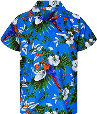 King Kameha Chemise Hawaïenne pour Homme Funky Casual Button Down Very Loud Courtes Unisex Cherryparrot