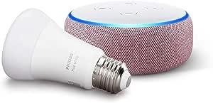 Echo Dot (3ª generazione, tessuto malva) + Philips Hue White Lampadina LED Connessa, Attacco E27, Dimmerabile, Luce Bianca Calda