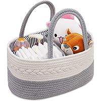 Baby Diaper Caddy-Nursery Storage Bin, Nappy Toys Storage Basket Diaper Tote Bag for Mom, Portable Holder Bag Changing Organiser Car Travel Storage Bag, Newborn Shower Gift Basket for Boys Girls