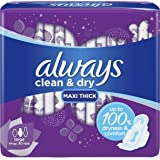ALWAYS Clean & Dry Maxi Thick, Large sanitary pads with wings, 30 pads