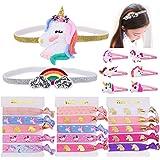 Konsait Unicorno Elastici per Capelli, Capelli Bambinai, Arcobaleno e Unicorno Fasce Elastiche, Accessori Styling Capelli Bam