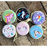 Rack Jack Round Storage Zipper Case Pouch Bag for Earphone/USB/Pendrive Carry Multipurpose Use Gifts for Girls/Return Gift for Birthday/Kids/Unisex - Assorted Colour/Design - 1 Piece - Unicorn