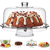 Fing Cake Stand with Dome Cover (6 in 1) Multi-Functional Serving Platter and Cake Plate - Use as Cake Holder, Salad…