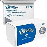 Kleenex 06778100 6778 Toallas de Papel Plegado Grandes, 15 Paquetes de 124 Hojas de Papel, 2 Capas, Tecnología Absorbente Air