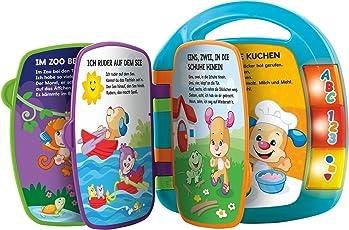 Fisher-Price CDH40 Lernspaß Liederbuch Lernspielzeug für Buchstaben Zahlen und Formen, ab 6 Monaten deutschsprachig, blau