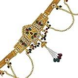 DzineTrendz Brass Gold Plated, Pear Shape Design, CZ, Faux Kundan Ruby Stylish Kamarpatta, Waistbelt, Kamarbandh Women Tradit