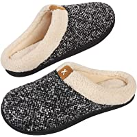 Men's Comfort Memory Foam Slippers Wool-Like Plush Fleece Lined House Shoes w/Indoor, Outdoor Anti-Skid Rubber Sole