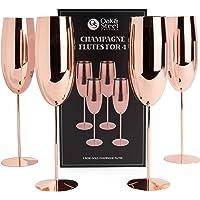 Oak & Steel 4 Flûtes à Champagne Élégantes en Or Rose Acier Inoxydable - 285ml
