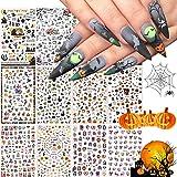 Kalolary Halloween Nagel Sticker Set,12 Stks 3D DIY Nagel Art Foils Nagel Tips Kat Hond Konijn Papegaai Nagelstickers 3D Zelf