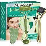 Rodillo de Jade, 3-In-1 Dermaroller, Jade Roller, Facial Masaje Piedra Gua Sha Jade, Para Masajeador facial para arrugas anti