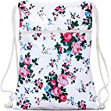 JEH BAGS Cotton Drawstring Backpack - Pink Rose Printed Shoulder And Outdoor Bagpack Capacity- 10 LTR. 12.5 x 2 x 34.5- Multi