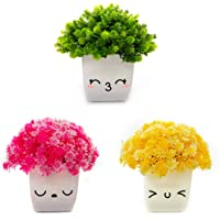 Amputive Artificial Topiary Shrub Kawaii Plant with Cute Plastic Pot for Home Decor (White, 3 Pieces)
