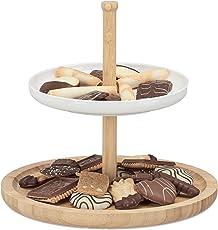 Relaxdays Etagere Bambus und Keramik, Ebenen Servierplatte, Deko-Servierteller für Kekse, Obst, Knabberzeug, natur-weiß
