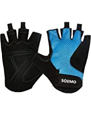 Amazon Brand - Solimo Gym Gloves (Medium), Black/Blue