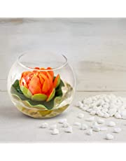 Tied Ribbons Glass Round Vessel with Faux Lotus and Natural Stones (12.49 cm x 12.49 cm x 12.49 cm), Multicolour