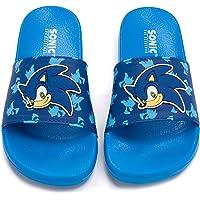 Sonic The Hedgehog Sliders For Boys | Kids Sonic Face Sandals Beach Shower Shoes | Childrens Blue Flip Flops Summer…