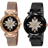 Shunya Analogue Girl's Watch (Black Dial Multi Colored Strap)