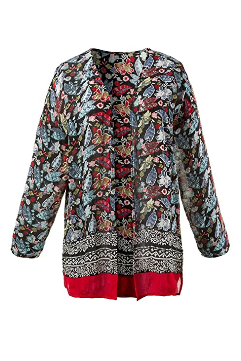 Ulla Popken Damen große Größen | Blusen-Jacke | floraler Print & Bordüre | offene  Form | Langarm | oversized | bis Größe 62+ | 710487: Ulla Popken: ...