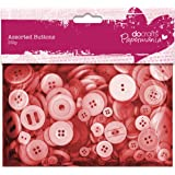 Papermania 250 g Assorted Button Pack, Red