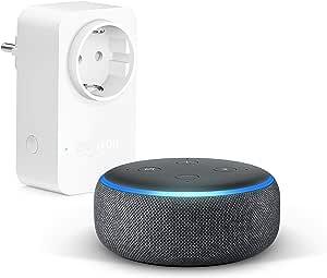 Echo Dot (3ª generazione) - Tessuto antracite +Amazon Smart Plug (presa intelligente con connettività Wi-Fi), compatibile con Alexa