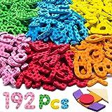LYKJ-karber 192 Pcs Lettres et Chiffres Magnétiques 9 Couleurs Jouets éducatifs Aimantés Bon Cadeau pour Les Tout-Petits pour