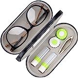 جراب ونظارة للعدسات المحمولة مزدوجة الجوانب 2 في 1، تصميم مزدوج الاستخدام مع مرآة مدمجة، ملقط وزجاجة محلول العدسات اللاصقة مت