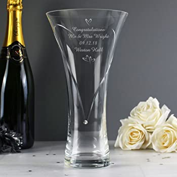 Hand Cut Diamante Heart Vase With Swarovski Elements By Cpm