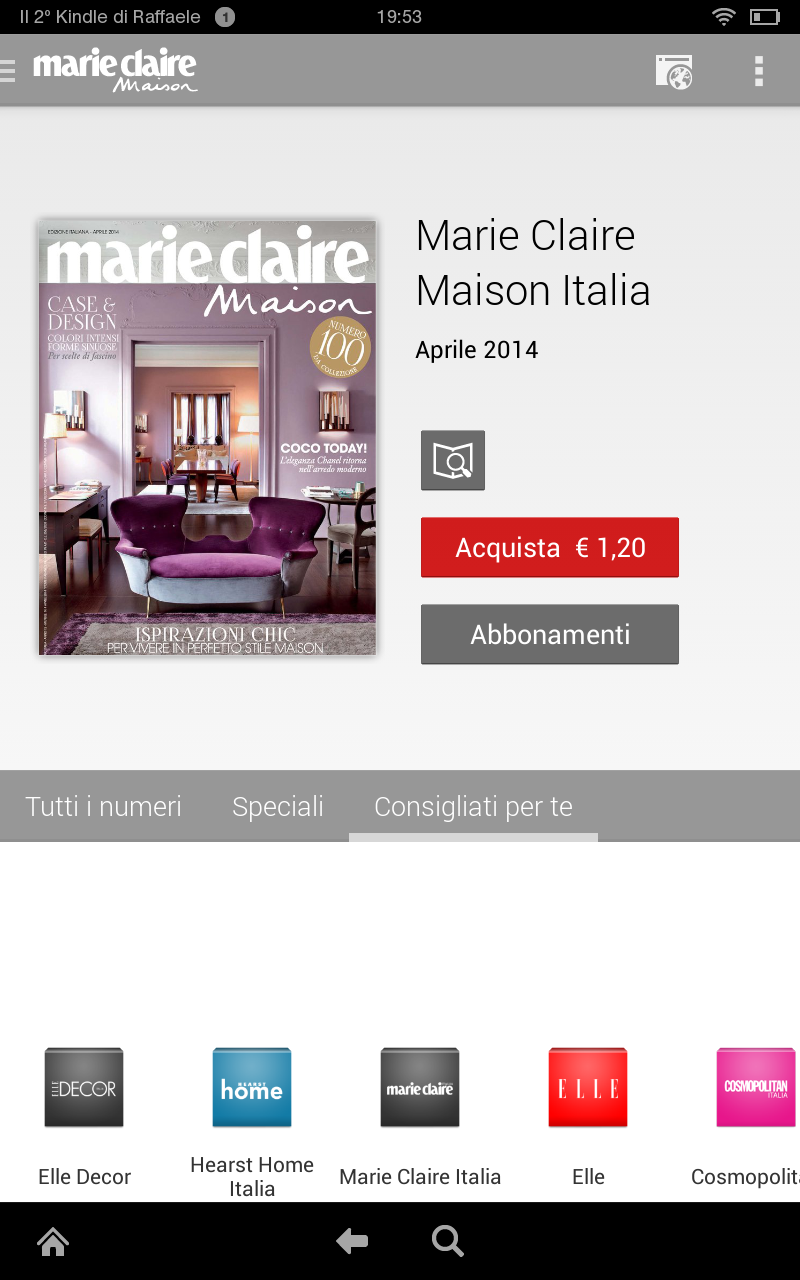 Marie claire maison italia appstore pour android for Hearst magazines italia stage