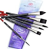 ZenART Aquarel Penselen - Handige 6 Stuks Black Tulip Korte Steel Aquarel Penseel Set voor Consistente Kleuren - Gouache, Wat