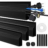 4 Packs J Channel Kabel Raceway Zwarte Kabel Trunking Verbergen Muur Mount TV Powers Cords Kabelkanalen voor Muur, Bureau, Th