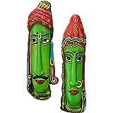 SULFAX Idol Decorative Idol Handmade | Terracotta Rajasthani Multicoloured Tribal Mask | Tribal Wall Hanging | for Gift, Offi