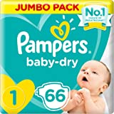 Pampers Baby-Dry, Size 1, Newborn, 2-5 kg, Jumbo Pack, 66 Diapers