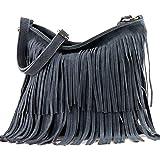 modamoda de - ital bandolera con flecos de gamuza T125, Color:Gris Azul