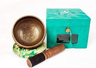 Tibetische Klangschale mit Klöppel I Tibet Klangschalen Set mit Klangschalenkissen in attraktiver Geschenk Box I Percussion Instrument für Meditation Massage Therapie I Gong Schale Nepal für Yoga