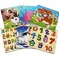 Swonuk 6 Packs Puzzle en Bois Enfants, Puzzles en Bois Jouets Puzzles 20 Pièces pour Les Enfants de 2 à 5 Ans - Jeu de…