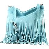 modamoda de - T145 - bolso de hombro ital con flecos, Color:T145 azul claro