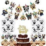 Duufin 50 Pièces Anniversaire Bannière Joyeux Anniversaire Décoration avec Bannières pour Chiens Ballons Cupcake Toppers Topp