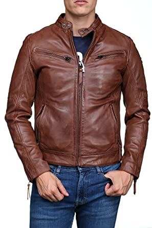 Blouson en cuir redskins lynch casting marron