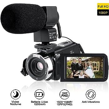 Caméscope Numerique, Full HD Caméscope Caméra Mini DV, 1920*1080P Vidéo Numérique DV Max 24.0 Megapixels, 3.0 Pouces TFT-LCD 16x Zoom Touch Screen Face Capture Infrarouge Vision Nocturne Microphone Interne (Supports 270°Rotation) Caméra vidéo Appareil Photo Numérique Noir (26)