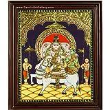 Sandiv Art Gallery Pradosham Sivan Tanjore Painting (24x18 Inch, Gold)