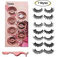 Faux cils 7 styles - Cils pour le visage réutilisables professionnels pour tous les yeux, Cils en faux vison 3D faits à la main, épais et naturels avec pince à cils de précision gratuite (7 paires)
