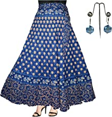 Generic Women's Eshopitude Cotton Jaipuri Wrap Around Skirt with Beautiful Earring Combo - 2 Pieces