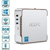 Mini PC, AK3 Intel Celeron J4125 Windows 10 Pro Mini Computer Desktop,8GB RAM + 120GB ROM, Supporto 2TB SSD/HDD SATA da…
