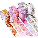 YUBX 6 Rouleaux Washi Tape Ruban Adhésif Papier Décoratif Masking Tape pour Scrapbooking Artisanat de Bricolage (Flower Gold