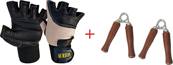 Weight Lifting Gloves - Soft Leather Gym Gloves With Wrist Support + Double Stitched Fingers And Palm - Breathable Mesh Lycra On Back + Easy Open Finger Tab Size Adjuster Double Stitched, 4-way Stretch Mesh, Half Finger Length, No Sweat, Extra Foam Padded, Combo pack with wooden hand grip set