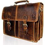 Corno d´Oro Aktentasche aus Büffel Leder I Schultertasche & Umhängetasche im Vintage Look I Business Aktentasche + Laptoptasc