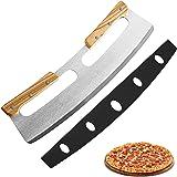 Coupe Pizza, Couteau à Pizza en Acier Inoxydable 35cm avec Manche en Bois,Coupe-pizza Professionnel Avec Manche En Bois Massi
