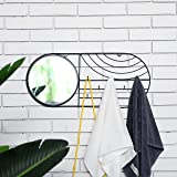 JHY DESIGN Round Wall Mounted Mirrors with 8 Hooks 60cm L Framed Wall Mirror Walls Accessories for Towels Necklace Bracelets